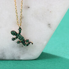 1ct Round Cut Green Emerald Gecko Lizard Pendant with Chain 14k Yellow Gold Over