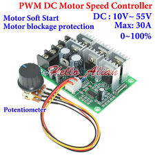 DC 10V~55V 12V 18V 24V 48V 30A PWM DC Motor Speed Controller Soft Start Switch