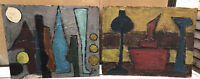 1960s PAIR OF UNFRAMED  FRENCH ABSTRACT OIL PAINTINGS - GOOD CONDITION