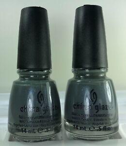 China Glaze Nail Polish IMMORTAL 1138 Charcoal Grey w Blue Green Shimmer Lacquer
