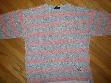 vtg 80s PERMIT PERMIT T SHIRT Dayglo Neon Pink Gray Static New Wave Punk Women L
