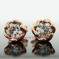 Genuine Solid 9CT Rose Gold Engagement Wedding Stud Earrings Simulated Diamonds