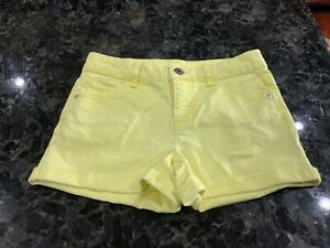 Justice Girls Yellow Denim Shorts Cuffed SIze 12 Button Fly