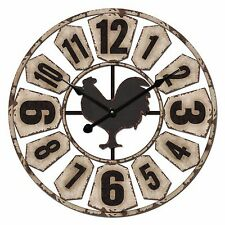 60cm Cafe Home Decor French Provincial Country Rooster Windmill Metal Wall Clock