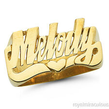 Personalized Name Ring - Unisex Script Style  10 mm 14K Yellow Gold