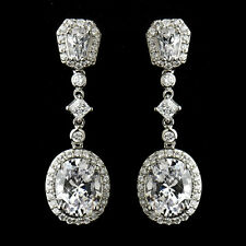 Bridal Earrings #2655 Antique Silver Clear Princess Oval CZ Crystal