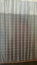 NIP LUNA ESTEX GEOMETRIC SQUARES DESIGN FLOCK FABRIC SHOWER CURTAIN BLACK/SILVER