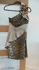 miss trend one shoulder leopard and beading dress size 42