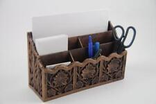 Mid Century Vintage Lerner Plastic Desk Letter Paper Organizer Carved Faux Wood