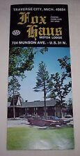 Fox Haus Motor Lodge Traverse City Michigan vintage hotel motel brochure 1960's