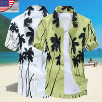 US Mens Hawaiian Casual Shirt Palm Tree Floral Beach Camp Shirt Button Down Tops