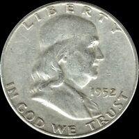 "A 1952 P Franklin Half Dollar 90% SILVER US Mint ""Average Circulation"""