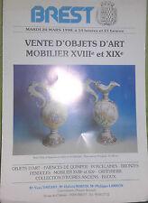 1990 Catalogue de Vente Illustré (Dépliant 3 pages) BREST Mobiliers XVIII&XIXè