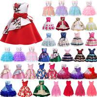 Girl Kids Flower Princess Tulle Dress Party Wedding Bridesmaid Formal Tutu Dress