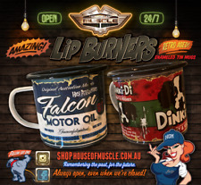 TWIN PACK OF LIP BURNERS metal mugs falcon oil can dinky di can you can swap