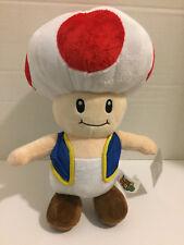 "14"" NWT Toad Mushroom Plush Nintendo Super Mario Bros Stuffed Toy Round 1"