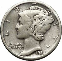Mercury Winged Liberty Head 1934 Dime United States Silver Coin Fasces i44892