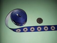 BLUE CROSGRAIN RIBBON WITH CONVERSE LOGO ON 22mm WIDE £1.50 a metre