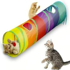 Cat Kitten Playing Tunnel 2 Holes Pet Play Fun Interactive Rolling Toy Colorful
