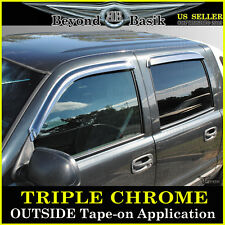 2001-2006 SILVERADO 4dr Crew Cab 4PC Chrome Door Vent Window Visor Rain Guards