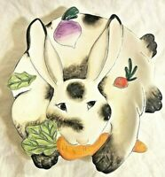 Fitz & Floyd Bunny Rabbit Canape Plate Tray Spotted Rabbit Easter Multi Color