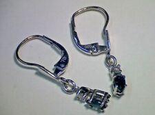 Zarte Ohrringe Hänger in Weiß-Gold 585 Blausaphir navette Brillant 0,06 ct