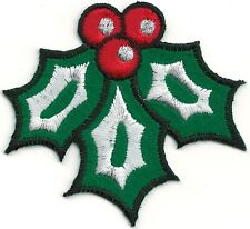 """3"""" Green Holly Holiday Christmas Embroidered Felt Patch"""