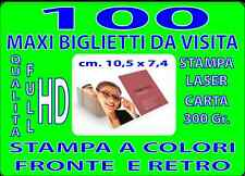 100 BIGLIETTI DA VISITA MAXI CM 7 X 10  A COLORI FRONTE E RETRO
