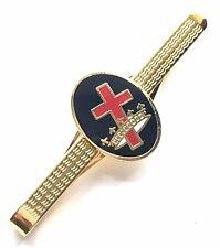 Cavalieri Templari Massoneria Croce & Corona Smalto Con Pennacchio Fermacravatta