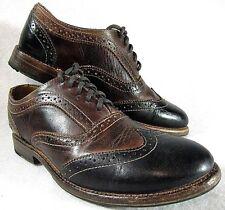 $195 BED STU LITA~TEAK BLACK womens (8.5)  wing tip brogue oxford shoes. 9307