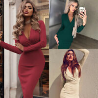 V Neck Womens Bodycon Evening Club Cocktail Long Sleeve Party Casual Mini Dress