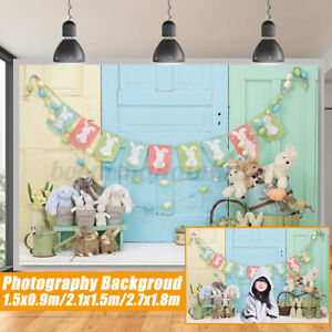 Easter Bunny Rabbit Flowers Grass Backdrop Party Photo Background Studio Props
