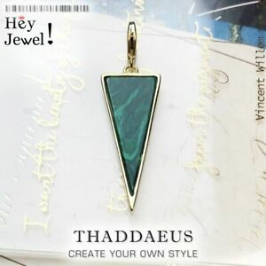 Golden Trilateral Pyramid Green Stone Charm Pendant Accessories Sterling Silver