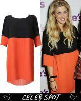 Topshop by Love Black and Orange Contrast Smock Dress UK 10 EURO 38 US 6 BNWT