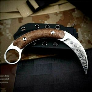 Claw Knife Karambit Hunting Military Combat Tactical Damascus Steel Wood Handle