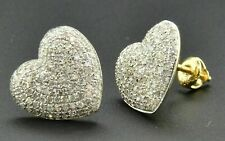 2.80 Ct Round Cut Diamond Heart Style Cluster Stud Earrings 14K Yellow Gold Over