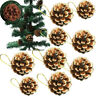 9pcs Christmas Pine Cones Baubles Xmas Tree Festival Hanging Decor Ornament Gift