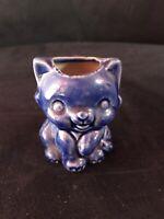 VINTAGE POTTERY BLUE CAT KITTEN MATCH TOOTHPICK HOLDER