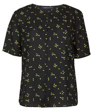 Marks and Spencer Floral Print Half Sleeve Shell Women's Top - Black Mix, Size 12