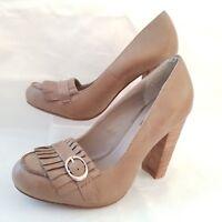 Next Womens Beige Tassel Block Heel Leather Court Shoes Buckle Size UK 3.5 / 36