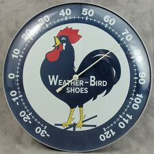 """WEATHER-BIRD SHOES THERMOMETER 12"""" ROUND GLASS DOME ADVERTISING SIGN"""