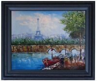 Framed Eiffel Tower Seine River Paris, Quality Hand Painted Oil Painting 16x20in