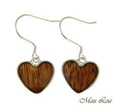 Koa Wood Hawaiian Heart Rhodium Silver Plated Brass Hook Wire Earrings
