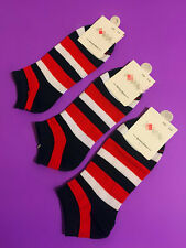 3 Pairs Unisex Women Casual Color Striped Cotton Ankle Low Cut Socks One Size