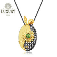 Natural Chrome Diopside Solid 925 Silver Handmade Sun Flower Pendant Necklace
