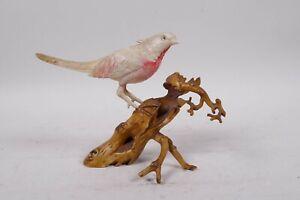 STUNNING 19th C MEIJI CARVED BOVINE OKIMONO STUDY OF AN ASIATIC  BIRD ON BRANCH