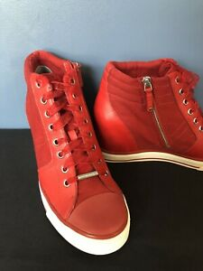 DKNY Donna Karen Women's Wedge Sneakers Red/White Leather & Fabric Shoes Size 10