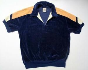 Vintage KENNINGTON Short Sleeve Velour Pullover Shirt Sz L