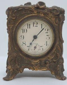 Antique Working 1909 GILBERT Gold Gilt Metal Art Nouveau Mini Mantel Shelf Clock