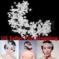Princess Wedding Bridal Prom Party Pearl Crystal Flower Hair Band Headband Tiara